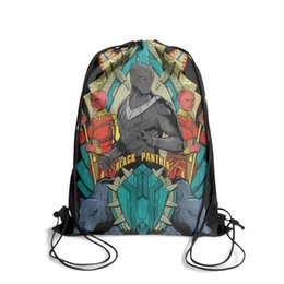 cool cartoon boys UK - Drawstring Sports Backpack COOL Black Panther Movie Posteroutdoor durable school Travel Fabric Backpack