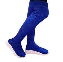 China Fashion Women Knitting Sock Boots Sport Flat Handmade Fall Winter Rhinestones Sneaker Women Air Brand Thigh High Botas cheap thigh high open toe suppliers