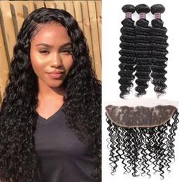 Discount deep wave weaving hair - Human Hair Bundles With Closure Wholesale Cheap 8A Brazilian Hair 3Bundles With 13*4 Lace Frontal Deep Wave Virgin Hair