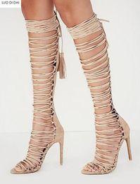 $enCountryForm.capitalKeyWord NZ - 2019 summer women boots women peep toe tassel booties lace up boots ladies thin heel fringe botas gladiator sandals boots