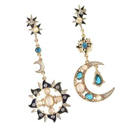 sun moon ring UK - Opal Diamonds Earrings Golden Alloy Asymmetrical Ear Rings Lightweight with Sun Moon Star Shape Crystal Rhinestone Eardrops for Women