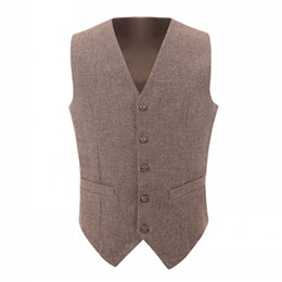 $enCountryForm.capitalKeyWord UK - 2019 Brown Groom Vests Country Wedding Wool Herringbone Tweed Vest Slim Fit Men's Suit Vest Dress Coat Dress Waistcoat Farm Prom