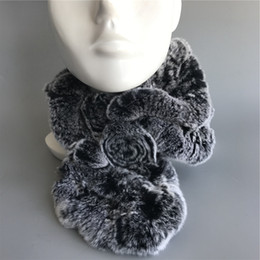 Soft Fur Scarf Australia - Womens Brown Real Rex Rabbit Fur soft Scarves Winter w flower Warm Scarf Neck Warmer
