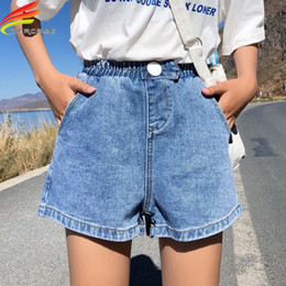$enCountryForm.capitalKeyWord Australia - Summer Streetwear Women Denim Shorts 2019 New Arrival High Elastic Waist Wide Leg Shorts Jeans Black Blue White Pink Short Femme