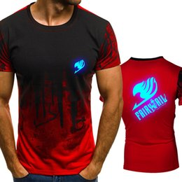 fairy tail prints Australia - Anime Fairy Tail Gradient color T Shirt Men Fast compression Breathable Mens O-Neck Short Sleeve Fitness t-shirt Gyms Tee tops