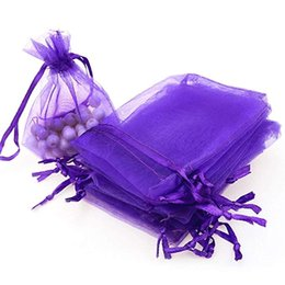 "$enCountryForm.capitalKeyWord Australia - 2019 7x9cm 100pcs Organza Gift Candy Sheer Bags Mesh Jewelry Pouches Drawstring Bulk for Wedding Party Favors Christmas 3""x4"" Purple"