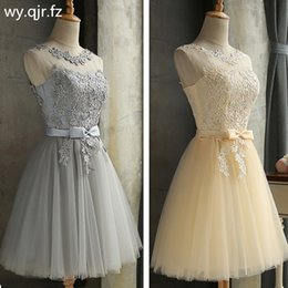 Cheap Xl Wedding Dresses NZ - Hjzy65x#lace Up Champagne Grey Red Short Bridesmaid Dresses Cheap Wedding Party Dress Girl Prom Gown Wholesale Q190525