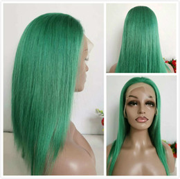 Silky Green Wigs Australia - Colored Green Braided Lace Front Wigs Peruvian Glueless Human Hair Wig With Baby Hair For Black Women 150% Green Straight Full Lace Wig