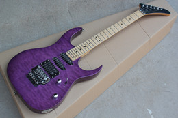 Guitars factory online shopping - Factory Purple Electric Guitar with Clouds Maple Veneer Double Rock Chrome Hardware