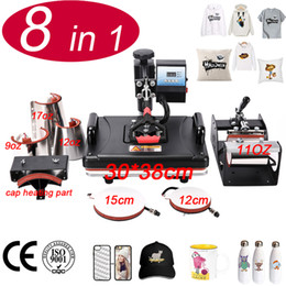 card heating 2019 - NEW 30*38CM 8 in 1 Combo Heat Press Machine Sublimation Heat Press Transfer Printer For Mug Cap T shirt Phone Cases chea