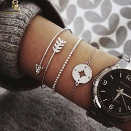 compass charming bracelet NZ - Newest Bohemian Style Arrow Bangle Carved Compass Metallic Beads Chain Silver Charm Bracelet for Women Fashion Jewelry Set