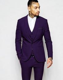 Wholesale New Design Slim Fit Purple Groom Tuxedos Shawl Lapel One Button Groomsmen Mens Wedding Dress Excellent Man Suit Jacket Pants Vest Tie