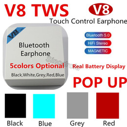 $enCountryForm.capitalKeyWord Canada - NEWEST V8 TWS Bluetooth Earphones 5.0 Touch Control Earbuds Wireless Headphones with Microphones Headsets For All Smartphones DHL 50PCS