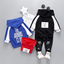 $enCountryForm.capitalKeyWord Australia - 2019 new spring and autumn boy clothing suit children casual long sleeve + pants baby clothing hooded design 3 color free shipping