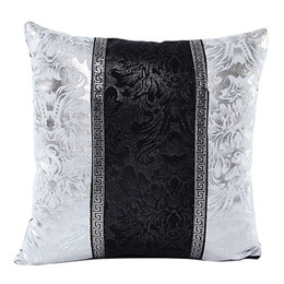 $enCountryForm.capitalKeyWord Canada - Mayitr 45x45cm Black Sliver Printed Pillow Case Floral Throw Pillow Covers Splice Square Cushion Covers for Seat Sofa Decoration