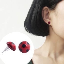 d4c3c0f52 Miraculous Ladybug Stud Earrings Cosplay Lady Bug Circle with Dot Animal  Earrings for Women Girl