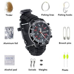 survival rescue whistle Australia - Outdoor Camping Watch Multi-functional Emergency Tools Kit Survival Watch Compass Whistle Fishing Kits Rescue Rope Paracord