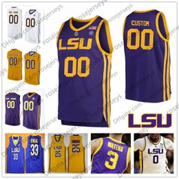 Purple Black Basketball Jersey Canada - Custom LSU Tigers 2019 NCAA Retro  yellow purple white Stitched 68489d867