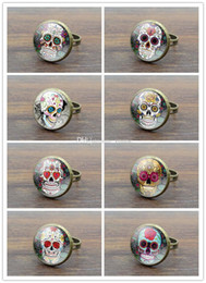 $enCountryForm.capitalKeyWord Australia - 10pcs Mix choose Glass Cabochon Vintage Women Rings Rose Skeleton Skull Picture Fashion Jewelry Ancient Bronze Rings For Women Men Gifts
