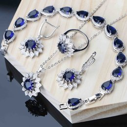 $enCountryForm.capitalKeyWord Australia - Bridal Jewelry Sets For Women Blue Cubic Zirconia Silver 925 Jewelry Flower Earring Ring Necklace Set Bracelet