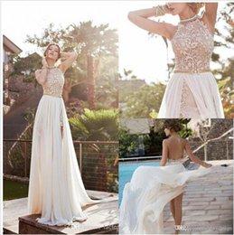 $enCountryForm.capitalKeyWord Australia - Vintage 2019 Julie Vino Summer Beach A-line Lace Wedding Dresses New Halter Backless Lace High Split Chiffon Bridal Gowns