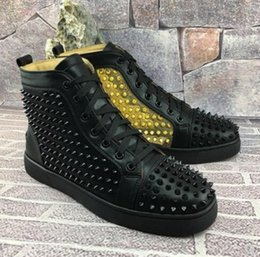 $enCountryForm.capitalKeyWord Australia - Name Brand Classic Red Bottom Men Spiked Designer Sneaker Shoe Black White Leather Men Casual Rivets Shoes High Top Dress Party Sneakers