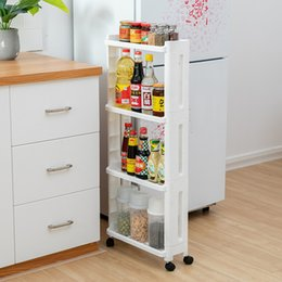 Wholesale The Goods For Kitchen Storage Rack Fridge Side Shelf Layer Removable With Wheels Bathroom Organizer Shelf Gap Holder