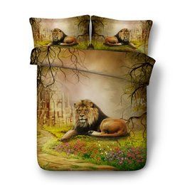 China 3D Bedding Sets Brown Lion Boys Girls 3 Pieces Duvet Cover Set Comforter Quilt Bedding Cover With Zipper Closure Wildlife Tiger Leopard Bed cheap tiger print bedding sets suppliers