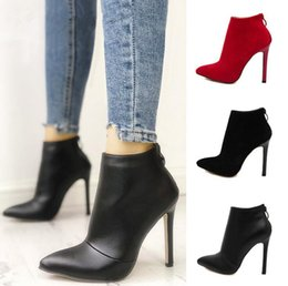 $enCountryForm.capitalKeyWord Australia - Belle Contracted Style Solid Color Black Women Red Wedding Shoes Back Zipper Pointed Toe High Heel Boots Shoes Woman Ankle Boots