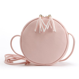 plain cream NZ - Super Cute Candy colored women Small Round shoulder bag Tassel zipper pink circle Crossbody Bags leather casual plain simple handbag