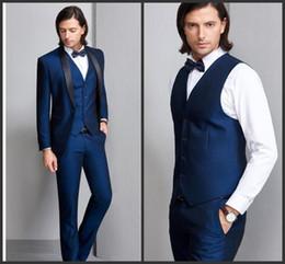 $enCountryForm.capitalKeyWord Australia - Navy Blue Groom Tuxedos Black Shawl Lapel Mens Wedding Tuxedos Man Jacket Blazer Popular 3Piece Suit