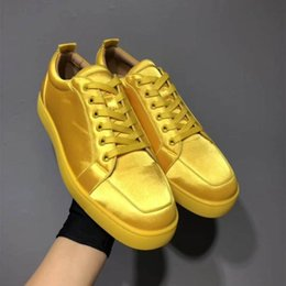 red satin shoes closed toe NZ - Luxury Rantulow Orlato Yellow ,Blue Satin Leather Sneakers Popular Red Bottom Sneaker Shoes Famous Low-top Skateboard Red Sole Trainer