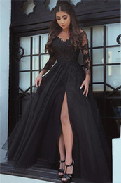 sheer shirts for cheap Australia - 2019 Sexy Black Prom Dresses High Side Split Lace Applique Sheer Neck Long Sleeves Formal Evening Party Wear Cheap Dress for Women