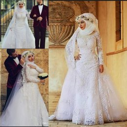 9e2e3beb974 Modest Long Sleeves Islamic Wedding Dresses with Hijab Overskirt Lace  Applique High Neck Muslim Bridal Gowns With veil