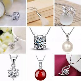Sterling Silver Pendant Charms Australia - 925 Sterling Silver Pendant Necklace without Chain Fashion Charms pendants necklaces pearl Crystal flower pendants jewelry 45 Styles