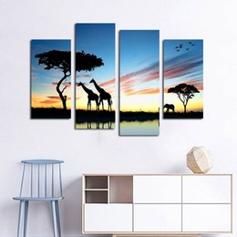 Pictures Oil African Australia - 4pcs set Unframed African Giraffe Silhouette Print On Canvas Wall Art Picture For Home and Living Room Decor