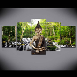 $enCountryForm.capitalKeyWord Australia - Buddha Art Prints Waterfull Poster Canvas Art 5 Pieces Modular Pictures Green Nature Wall Painting Bedroom Home Decor No Frame