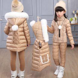 $enCountryForm.capitalKeyWord Australia - 2019 winter children clothing sets down&parka jacket sets vest-pants-jacket hooded baby girls leather jacket & coat Pony pattern