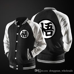 black white japanese men coat Australia - New Japanese Anime Dragon Ball Goku Varsity Jacket 2017 Autumn Fashion Black White Sleeve Fleece Baseball Jacket Sweatshirt Coat