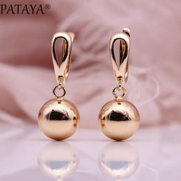 83853a8f0 PATAYA New White Hollow Spherical Long Earrings Women Unique Fine Wedding  Simple Fashion Jewelry 585 Rose Gold Dangle Earrings