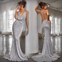 219c65da9f3b Sparkly long prom dreSSeS open back online shopping - 2019 Sexy New Silver  Ruffles Sequin Mermaid
