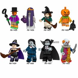 mini figures blocks NZ - Halloween Boys Mini Figures Gift Vampire Little Witch Clown Pumpkin Ghost Zombie Moster Mini Toy Building Blocks Compatible