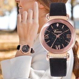 reloj water resistant 2019 - Fashion Women Leather Band Starry Sky Watch Casual Female Rose Gold Case Wristwatch Quartz Watch Vansvar Brand Reloj Muj