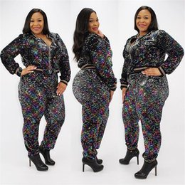 b3b8ed857e91 Women Sexy Mermaid Sequin Two Piece Clothes Set Gradient Glitter Crop Jacket  and Pants Tracksuit Zipper Coat Top Outfit 2XL NEW