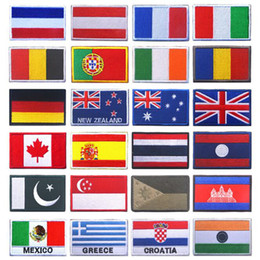 Patches Uk Wholesale Australia - National Flag Badge Clothes Backpack Gloves Flag Sewing Russia Spain France UK Personality Designer Embroidery Hook Ring Patch