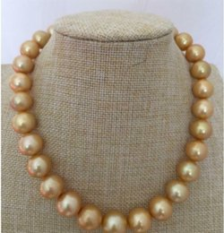 huge yellow necklace Canada - Fast Free shipping Fine Pearl Jewelry GORGEOUS HUGE 13-15MM SOUTH SEA ROUND GOLD PEARL NECKLACE 18INCH