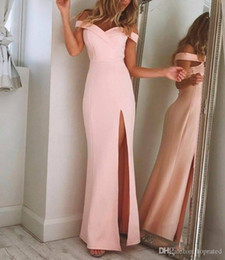 $enCountryForm.capitalKeyWord Australia - New Pink the Shoulder Simple Elegant Prom Dresses Long Pageant Gowns High-Thigh Split Unique Design Formal Evening Wear Party Dresses Custom