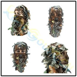 $enCountryForm.capitalKeyWord Australia - 3D outdoor Geely clothing full face mask hood headgear Camo leaves caps fishing camouflage hunting hat headwear masks
