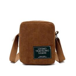Hand Bag Straps UK - Single Shoulder Strap Female Bag Mini Corduroy Small Mini Hand Bags Vintage Crossbody Messenger Handbags Purses Bag For Women