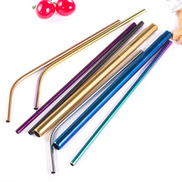 $enCountryForm.capitalKeyWord Australia - Reusable Drinking Stainless Steel Straw Bent Straight Meal Straw Wholesale With Cleaning Brush For Barware Accessories